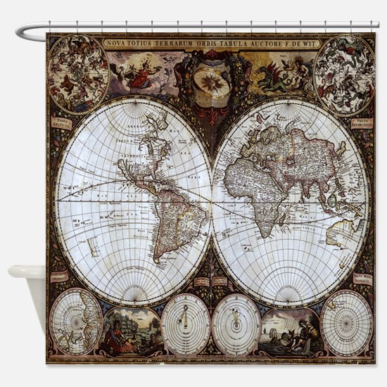 Ancient World Map Shower Curtain