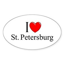 """I Love St. Petersburg"" Oval Decal"