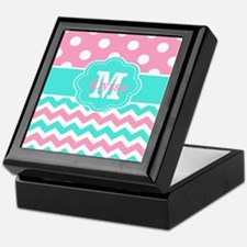 Pink Teal Chevron Dots Personalized Keepsake Box