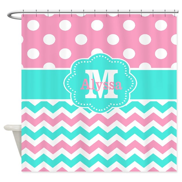 Pink Teal Chevron Dots Personalized Shower Curtain By CupcakesandSprinklesBir
