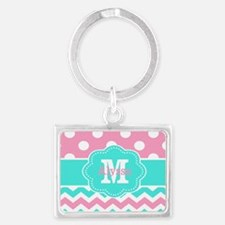 Pink Teal Black Chevron Dots Personalized Keychain