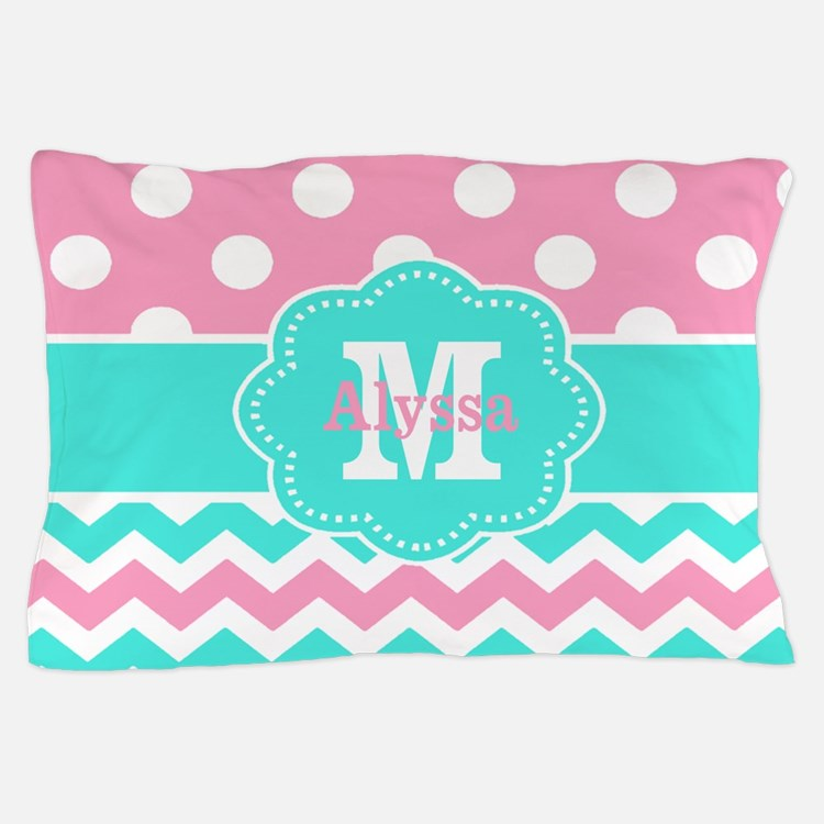 Pink Teal Black Chevron Dots Personalized Pillow C