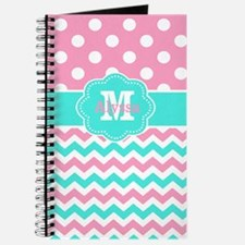 Pink Teal Chevron Dots Monogram Journal