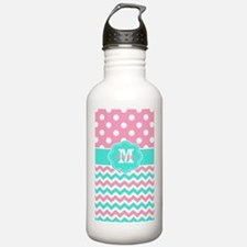 Pink Teal Chevron Dots Monogram Water Bottle