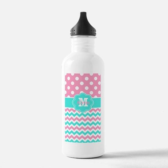 Pink Teal Chevron Dots Monogram Water Bottle