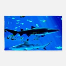 2 Black Tipped Sharks Area Rug