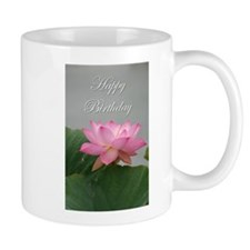 Happy Birthday pink lotus flower Mugs