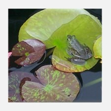 Close Up Frog on Lily Pad Tile Coaster