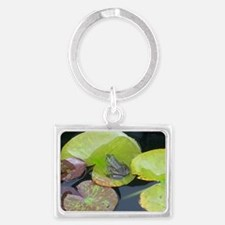 Close Up Frog on Lily Pad Landscape Keychain