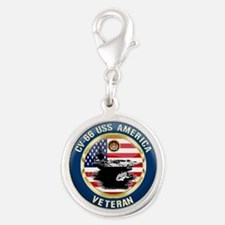 CV-66 USS America Silver Round Charm