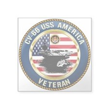 "CV-66 USS America Square Sticker 3"" x 3"""