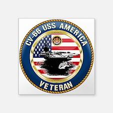 "CV-66 USS America Square Sticker 3"" x 3"""