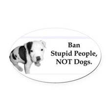Cute Dog fighting Oval Car Magnet