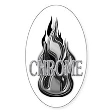 Chrome Flame Design Oval Decal