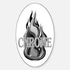 Chrome Flame Design Oval Decal
