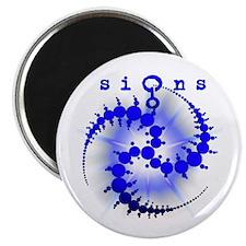 Spiral Sunburst Crop Circle Blue Magnet