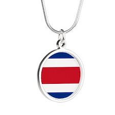 Costa Rica Flag Silver Round Necklace Necklaces