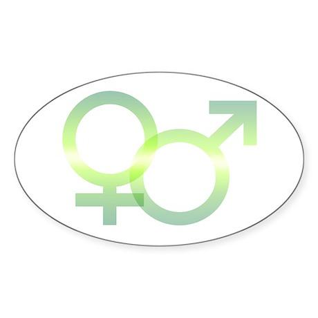 Male/Female Symbols Oval Sticker