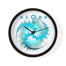 Spiral Sunburst Crop Circle Aqua Wall Clock