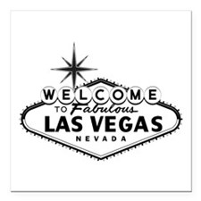 """Welcome To Las Vegas Sign Square Car Magnet 3"""" x 3"""