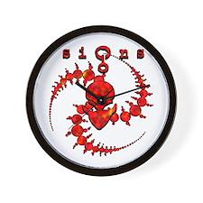 Spiral Crop Circle w/Alien Face Dark Red Wall Cloc
