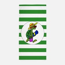 Green Stripe Cartoon Turtle Beach Towel