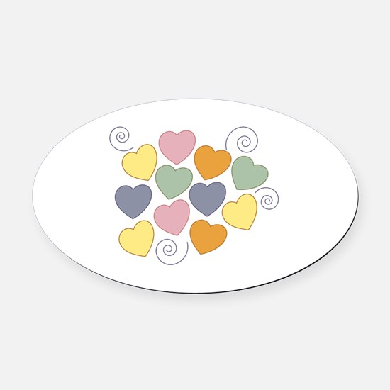 Colorful Heart Oval Car Magnet