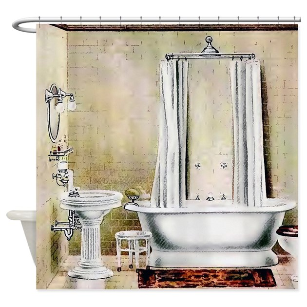 Vintage Bathroom Shower Curtain By Pinkinkart