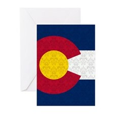 Colorado Flag Damask Pattern Greeting Cards