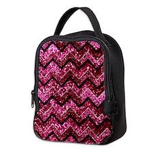 Chevron Glitter Pink Neoprene Lunch Bag