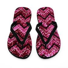 Chevron Glitter Pink Flip Flops