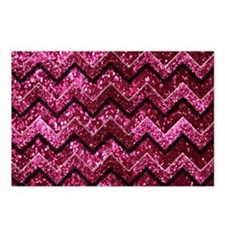 Chevron Glitter Pink Postcards (Package of 8)