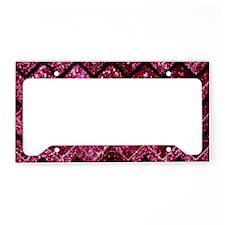 Chevron Glitter Pink License Plate Holder