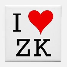 I Love ZK Tile Coaster
