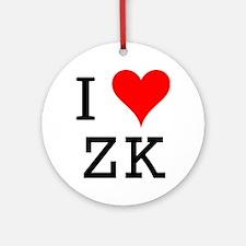 I Love ZK Ornament (Round)