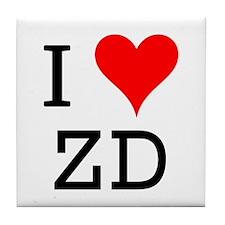 I Love ZD Tile Coaster