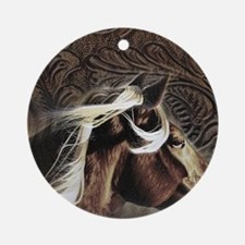 modern horse brown leather texture Ornament (Round