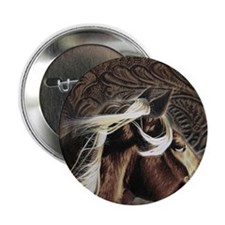 """modern horse brown leather texture 2.25"""" Button"""