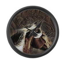 modern horse brown leather texture Large Wall Cloc