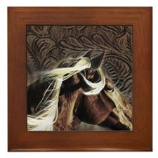 modern horse brown leather texture Framed Tile