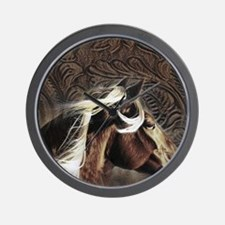 modern horse brown leather texture Wall Clock