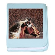 modern horse brown leather texture baby blanket