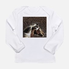 modern horse brown leather texture Long Sleeve T-S