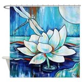 Lotus dragonfly Shower Curtains