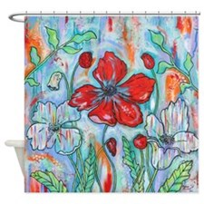 Red Poppy Floral Shower Curtain By Melanie Douthit
