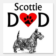 "Scottie Dad Square Car Magnet 3"" x 3"""