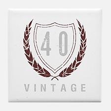 40th Birthday Laurels Tile Coaster