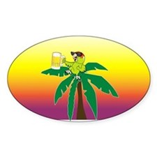Parrot lounging with a beer Oval Stickers
