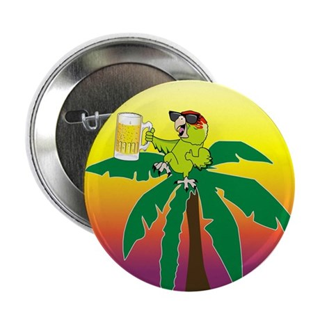 """Parrot lounging with a beer 2.25"""" Button (100 pack"""