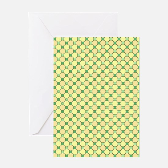 1966s dots green Greeting Cards